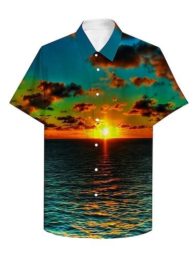 Męskie Koszula Druk 3D Graficzny 3D Druk 3D Przycisk w dół Krótki rękaw Codzienny Najfatalniejszy Codzienny Hawajskie Zielony / Lato