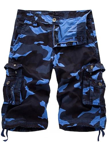 Homme Chino Shorts Cargo Confort Respirable Exterieur Short Pantalon cargo Ample Decontractee Des sports Pantalon Camouflage Court Poche Rouge camouflage Camouflage jaune Bleu Violet Couleur / Ete