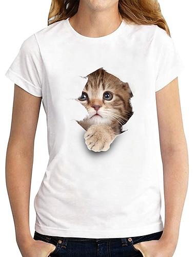 Dámské 3D kočka Tričko Kočka Grafika 3D Tisk Kulatý Základní Topy 100% bavlna Bílá Černá
