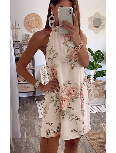 Γυναικεία Φόρεμα ριχτό Μίνι φόρεμα Λευκό Αμάνικο Φλοράλ Στάμπα Άνοιξη Καλοκαίρι Δένει στο Λαιμό Καθημερινό Αργίες 2021 Τ M L XL