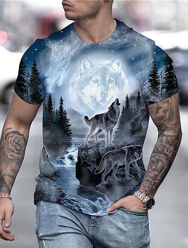Men\'s T shirt Shirt 3D Animal Plus Size Print Short Sleeve Daily Tops Streetwear Exaggerated Round Neck Rainbow