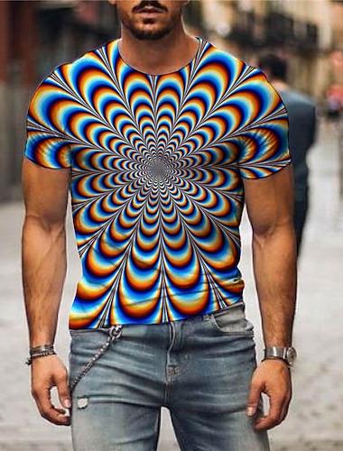 בגדי ריקוד גברים טי שירטס חולצה קצרה חולצה הדפסת תלת מימד גראפי הדפסת 3D מידות גדולות דפוס שרוולים קצרים יומי צמרות בסיסי יום יומי פול סגול תלתן