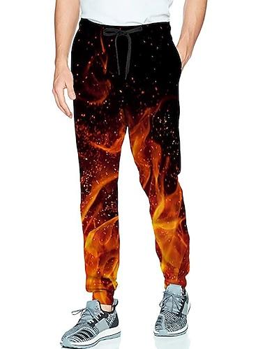 בגדי ריקוד גברים יום יומי בגדי ספורט ומנוחה יומי ספורט רָץ לְהַנָאָתוֹ מכנסיים מכנסי טרנינג מכנסיים להבה באורך מלא שרוך כיס הדפסת תלת מימד 1 2