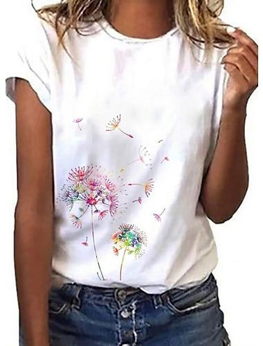 Dámské Jdeme ven Květinový motiv Pampeliška Obraz Tričko Grafika Pampeliška Tisk Kulatý Základní Topy Bílá