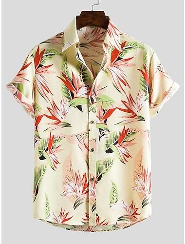 Men\'s Shirt Other Prints Zebra collared shirts Print Short Sleeve Daily Slim Tops Beach Boho Button Down Collar Yellow