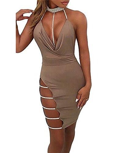 γυναικεία σέξι κλαμπ φορέματα επίδεσμο βαθιά λαιμόκοψη λαιμόκοψη λαιμόκοψη μακρύ μακρύ bodycon σχιστό φόρεμα clubwear χακί