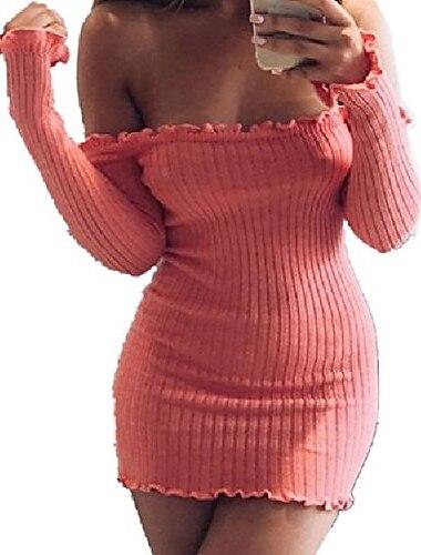 여성용 시스 드레스 미니 드레스 라이트 핑크 옐로우 그레이 긴 소매 한 색상 주름장식 가을 겨울 오프 숄더 캐쥬얼 섹시 2021 S M L XL / 홀리데이 / 슬림
