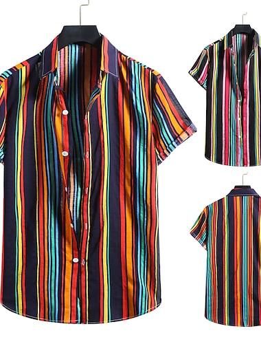 Men\'s Shirt 3D Print Graphic Prints Print Short Sleeve Vacation Tops Button Down Collar Blushing Pink Red / Beach