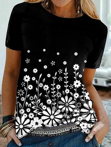 Dámské Květinový motiv Tričko Květinový Grafika Tisk Kulatý Základní Topy Černá