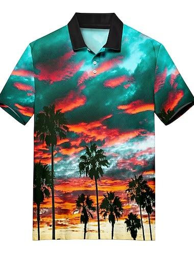 Men\'s Golf Shirt Tennis Shirt 3D Print Scenery Coconut Tree Button-Down Print Short Sleeve Casual Tops Casual Fashion Soft Breathable Rainbow / Sports