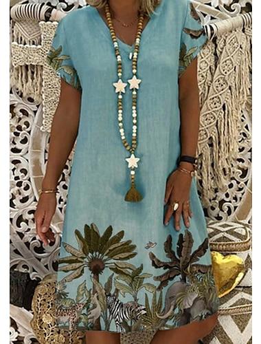 Női Váltó ruha Térdig érő ruha Arcpír rózsaszín Szürke Lóhere Fehér Rövid ujjú Virágos Nyomtatott Nyár V-alakú Alkalmi 2021 S M L XL XXL 3XL 4XL 5XL