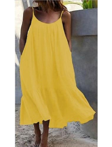 Γυναικεία Φόρεμα με λεπτή τιράντα Μίντι φόρεμα Βυσσινί Κίτρινο Κόκκινο Κρασί Ουρανί Λευκό Μαύρο Βαθυγάλαζο Αμάνικο Συμπαγές Χρώμα Άνοιξη Καλοκαίρι Καθημερινά Φαρδιά 2021 Τ M L XL XXL XXXL 4XL 5XL