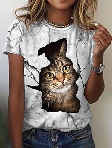 Dámské 3D kočka Tričko Kočka Grafika 3D Tisk Kulatý Základní Topy Bílá