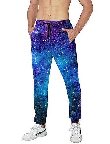 בגדי ריקוד גברים יום יומי בגדי ספורט ומנוחה יומי ספורט רָץ לְהַנָאָתוֹ מכנסיים מכנסי טרנינג מכנסיים גלקסיה באורך מלא שרוך כיס הדפסת תלת מימד 1 2