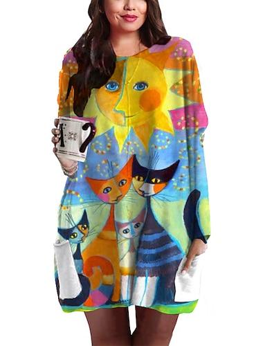 Γυναικεία Συν μέγεθος Φόρεμα Φόρεμα ριχτό Μίνι φόρεμα Μακρυμάνικο Γάτα Γραφική Ζώο Στάμπα Βασικό Φθινόπωρο Άνοιξη Καλοκαίρι Ανοικτό Κίτρινο XL XXL 3XL 4XL 5XL / Μεγάλα Μεγέθη