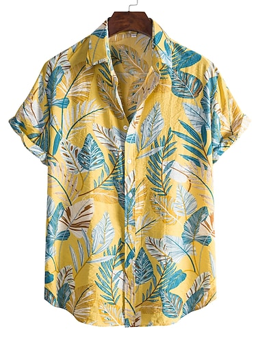 Men\'s Shirt Other Prints Letter Animal collared shirts Print Short Sleeve Daily Tops Beach Boho Button Down Collar Yellow