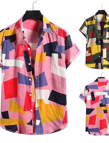 Men\'s Shirt 3D Print Graphic Prints Print Short Sleeve Vacation Tops Button Down Collar Blushing Pink Green / Beach