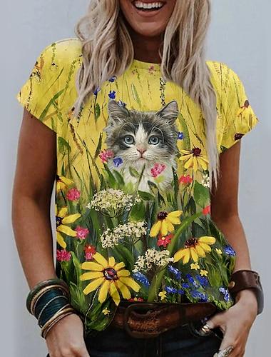 여성용 데이트 꽃 테마 데이지 3D 고양이 T 셔츠 플로럴 고양이 그래픽 프린트 라운드 넥 베이직 탑스 푸른 옐로우