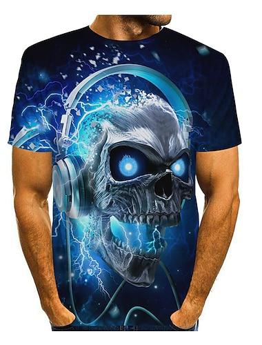 Pánské Tričko 3D tisk Grafika 3D Lebky Tisk Krátký rukáv Denní Topy Rokové Šik ven 1# 2# 3#