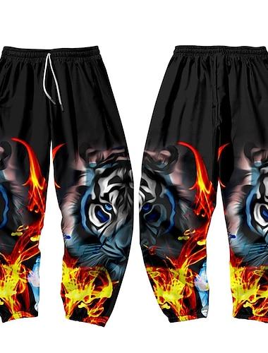 בגדי ריקוד גברים מקרי / ספורטיבי בגדי ספורט ומנוחה יומי ספורט הארם משוחרר רָץ לְהַנָאָתוֹ מכנסיים מכנסי טרנינג מכנסיים נָמֵר באורך מלא הדפסת תלת מימד אלסטית מותניים שחור