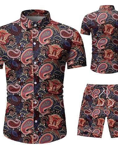 Herre Skjorte Andre tryk Grafiske tryk Trykt mønster Kortærmet Ferierejse Toppe Hvid Sort