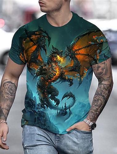 Men\'s Tee T shirt Shirt 3D Print Dragon Graphic Anime Plus Size Print Short Sleeve Daily Tops Streetwear Exaggerated Golden Blue Rainbow
