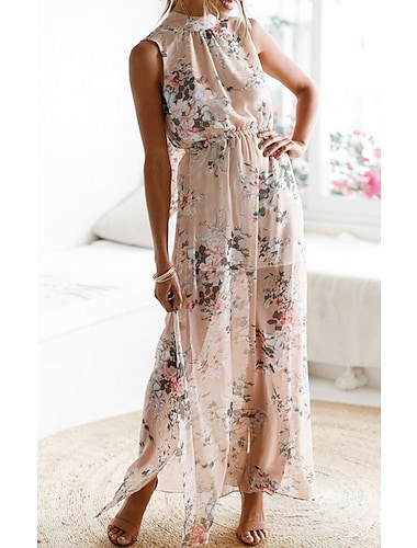 Γυναικεία Φορέματα σιφόν Μακρύ φόρεμα Φωτογραφικό χρώμα Αμάνικο Φλοράλ Σκίσιμο Στάμπα Καλοκαίρι Στρογγυλή Λαιμόκοψη Σέξι 2021 Τ M L XL / Σιφόν