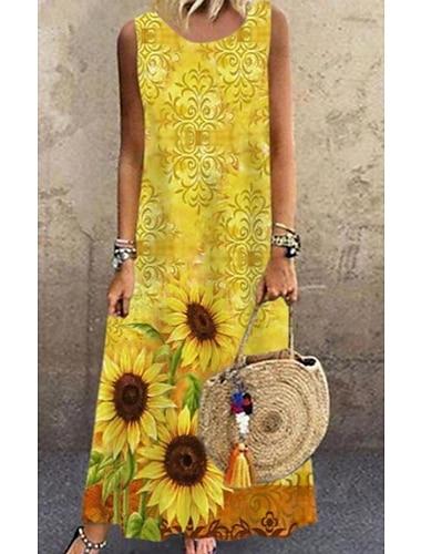 Γυναικεία Φόρεμα σε γραμμή Α Μακρύ φόρεμα Κίτρινο Αμάνικο Φλοράλ Στάμπα Άνοιξη Καλοκαίρι Στρογγυλή Λαιμόκοψη Καθημερινό Φαρδιά 2021 Τ M L XL XXL 3XL 4XL 5XL