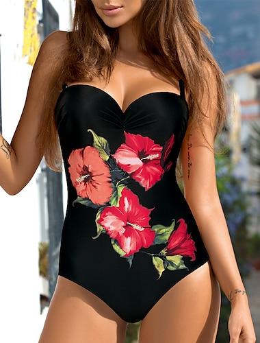 Női Egy darab Bikini Fürdőruha Virágos Színes Medence Rubin Fürdőruha Pántos Fürdőruhák
