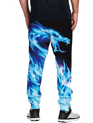 בגדי ריקוד גברים יום יומי בגדי ספורט ומנוחה יומי ספורט רָץ לְהַנָאָתוֹ מכנסיים מכנסי טרנינג מכנסיים דרקון באורך מלא שרוך כיס הדפסת תלת מימד 1 2 3