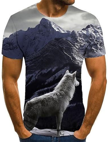 Pánské Tričko Košile 3D tisk Zvíře 3D tisk Tisk Krátký rukáv Ležérní Topy Na běžné nošení Módní Kulatý Bílá
