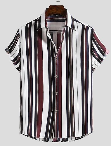 Men\'s Shirt 3D Print Stripes collared shirts Print Short Sleeve Street Slim Tops Casual Fashion Beach Boho Brown