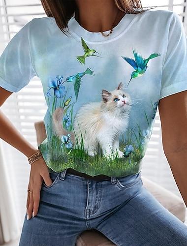 여성용 버터플라이 3D 고양이 페인팅 T 셔츠 고양이 그래픽 3D 프린트 라운드 넥 베이직 탑스 푸른 클로버 밝은 블루
