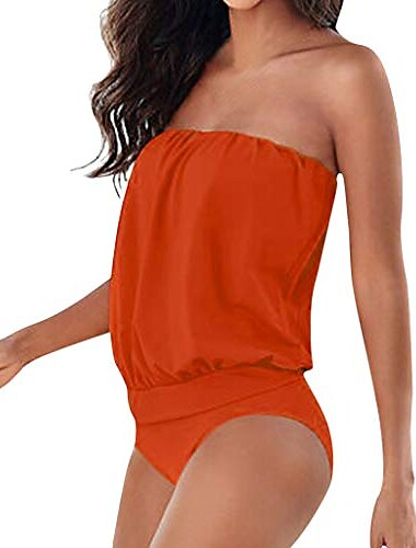 xuejin női szexi, egy darabból álló fürdőruhák fűzősek fel a válláról fodros leeső monokini fürdőruhák narancssárga