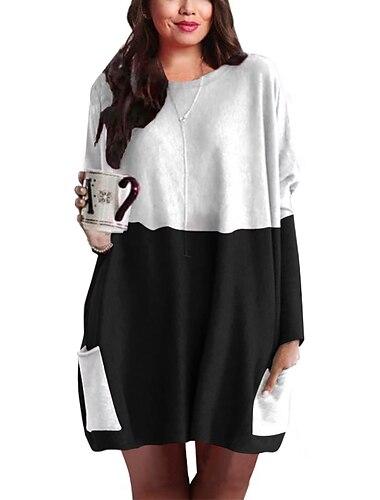 Γυναικεία Φόρεμα ριχτό Μίνι φόρεμα Κρασί Μαύρο Μακρυμάνικο Στάμπα Συνδυασμός Χρωμάτων Κουρελού Στάμπα Φθινόπωρο Στρογγυλή Λαιμόκοψη Καθημερινό Λεπτό 2021 Τ M L XL XXL 3XL 4XL 5XL / Μεγάλα Μεγέθη
