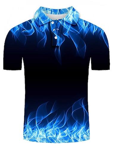 Męskie Koszula golfowa Koszula tenisowa Graficzny Puszysta Krótki rękaw Codzienny Szczupła Najfatalniejszy Spersonalizowane Moda miejska 3D Przesadny Kołnierzyk koszuli Niebieski