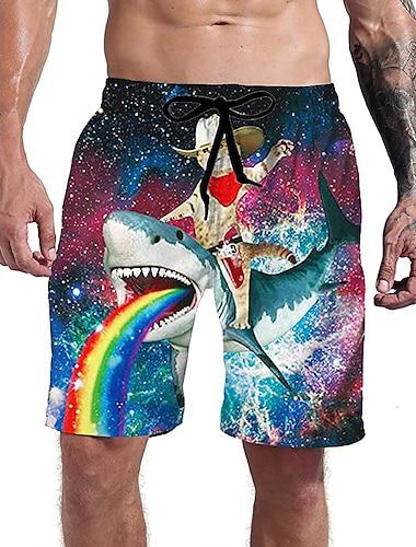 Hombre Casual Ropa Deportiva Bermudas Diario Festivos Pantalones Impresion 3D Tiburon Corto Correa Bolsillo Diseno de cordon elastico Azul Piscina Arco Iris
