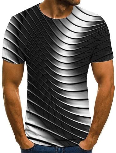 Homens Camiseta Camisa Social Impressao 3D Geometrica Impressao 3D Estampado Manga Curta Casual Blusas Casual Moda Decote Redondo Preto / Branco