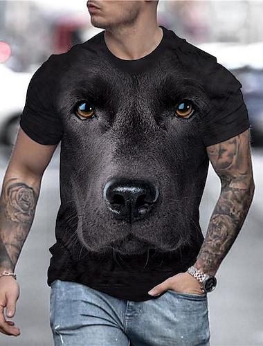 Herren Tee T-Shirt Hemd 3D-Druck Hund Tier UEbergroessen Druck Kurzarm Party Oberteile Schick & Modern Street Schick Komfortabel Gross und hoch Rundhalsausschnitt Blau Gelb Schwarz