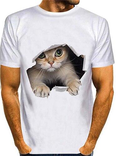 Tee T-shirt Chemise Homme 3D effet Chat Imprimes Photos Animal Grandes Tailles 3D Imprime Manches Courtes Decontracte Quotidien Standard Polyester Chic de Rue Coupe Cintree Entrainement Col Rond