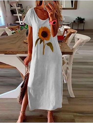 Women\'s A Line Dress Maxi long Dress Yellow White Black Short Sleeve Floral Split Spring Summer Round Neck Casual Loose 2021 S M L XL XXL 3XL 4XL 5XL