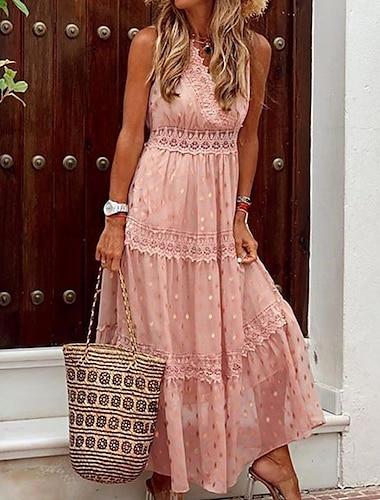 Γυναικεία Φόρεμα ριχτό από τη μέση και κάτω Μακρύ φόρεμα Θαλασσί Κίτρινο Ανθισμένο Ροζ Λευκό Μπεζ Αμάνικο Συμπαγές Χρώμα Δαντέλα Κουρελού Άνοιξη Καλοκαίρι Λαιμόκοψη V Κομψό Σέξι Μπόχο Αργίες 2021 Τ M