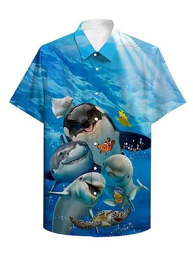 男性用 シャツ 3Dプリント グラフィック 観賞魚用 動物 ボタンダウン プリント 半袖 日常 トップの カジュアル デザイナー 大きくて背が高い ブルー / 夏