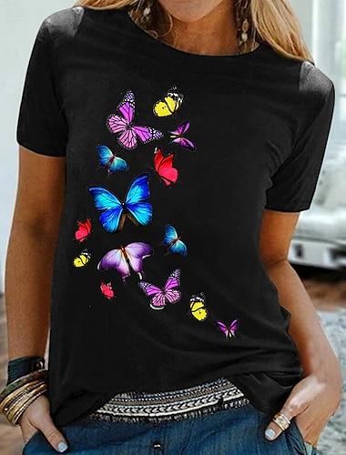 Dámské Jdeme ven Motýl Tričko Grafika Motýl Tisk Kulatý Základní Topy 100% bavlna Černá