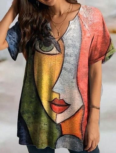 Női Pólóruha Rövid mini ruha Rubin Rövid ujjú Nyomtatott Nyomtatott Ősz Tavasz V-alakú Alkalmi Bő 2021 S M L XL XXL 3XL