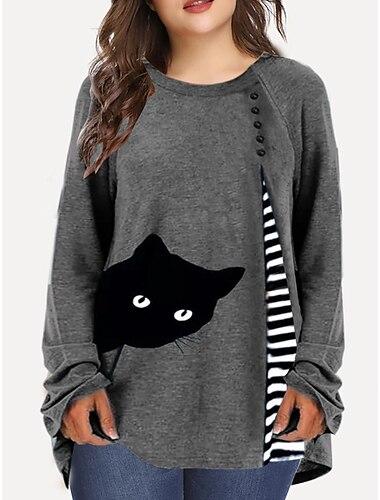 여성용 플러스 크기 탑스 T 셔츠 줄무늬 고양이 동물 긴 소매 크루 넥 베이직 푸른 와인 그레이 큰 사이즈 XL 2XL 3XL 4XL 5XL / 100% 면 / 플러스 사이즈 / 플러스 사이즈