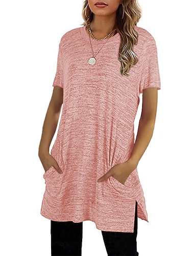 Women\'s T Shirt Dress Tee Dress Short Mini Dress Blushing Pink Wine Gray Khaki Black Short Sleeve Solid Color Spring Summer Round Neck Casual Loose 2021 S M L XL XXL