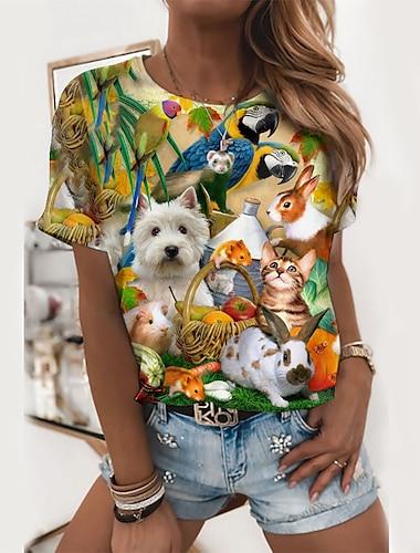 여성용 3D 페인팅 T 셔츠 그래픽 동물 프린트 라운드 넥 베이직 탑스 클로버
