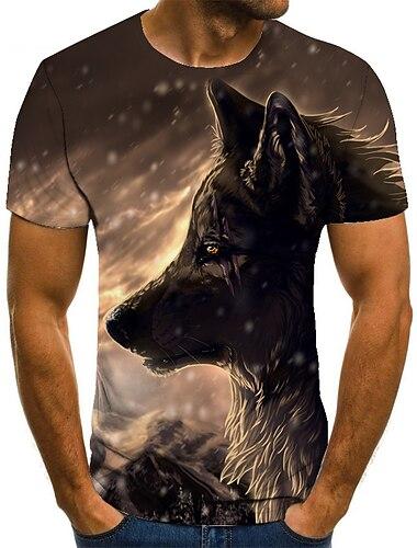 T-shirt Chemise Homme 3D effet Animal Normal 1 pc Impression 3D Imprime Manches Courtes Decontracte Quotidien Ample Polyester Simple Mode Col Rond