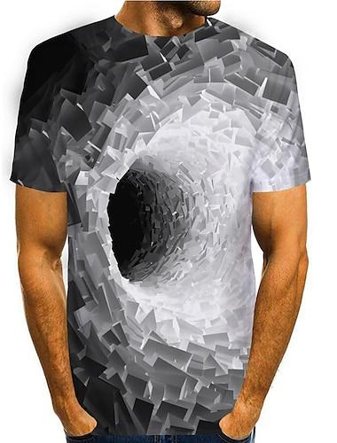 Herre T-shirt 3D-udskrivning Grafisk 3D 3D Trykt mønster Kortærmet Daglig Toppe Basale Afslappet Blå Lilla Gul